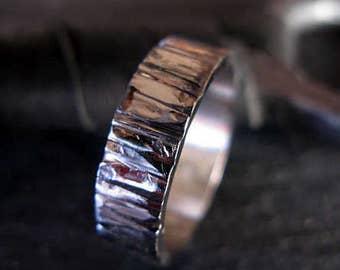 14K White Gold Bark Ring Mens Wedding Band Mens Wedding Ring Unique Mens Wedding Band Mens Wedding Rings Viking Wedding Ring Rustic Mens