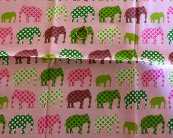 Cotton fabric pink with elephants