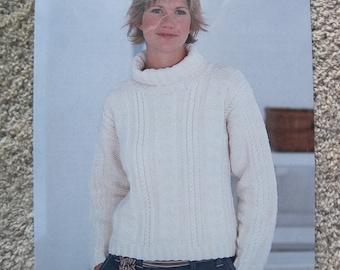 Knit Leaflet - Turtleneck Sweater - Sirdar #5104