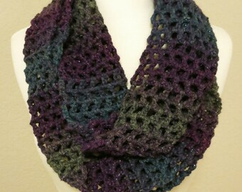 Sparkly Lacy Crocheted Infinity Scarf