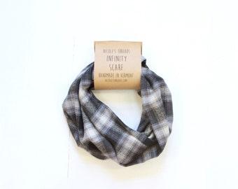 Infinity Scarf - Plaid - Flannel - Oversized - Black & Gray - Warm - Winter- Cozy - Unisex - Gray