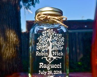 Unity Jar, Quart Mason Jar, Sand Ceremony, Tree of Life Mason Jar, Tree of Love Quart Jar