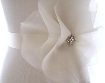 Lovely Large Organza Bloom, Bridal flower sash, bridal belt, rhinestone sash