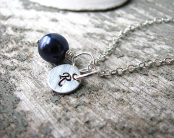 Navy Blue Bridesmaid Jewelry Personalized Bridesmaid Gift Necklace Custom Monogram Jewelry in Navy Blue Pearl