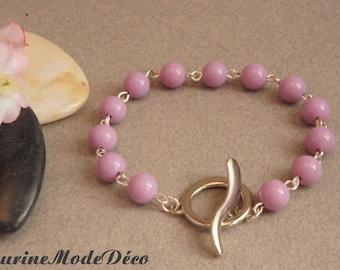 Bracelet purple resin beads