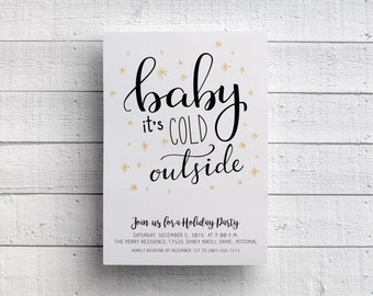Baby It's Cold Outside Christmas Party Invitation, Holiday Party, Company Party, Flyer, Event, Festive, Navy Blue, Gold, Cute, Printable