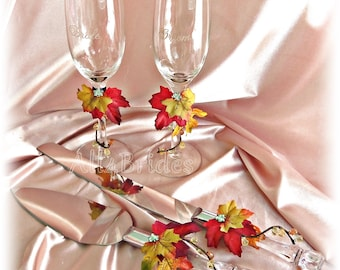 Fall leaves wedding cake knife cutting set and champagne glasses, fall wedding accessories