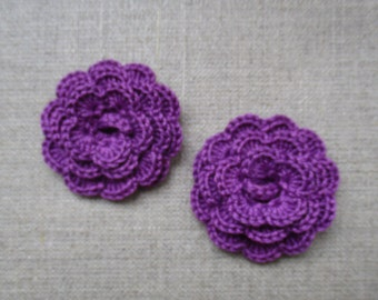 """set of 2 purple flowers crocheted """"pink style"""""""
