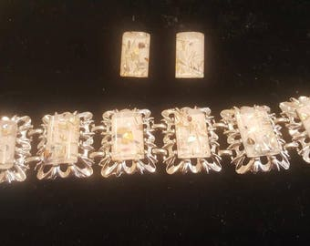 Mid century Lucite Link bracelet and Earring set