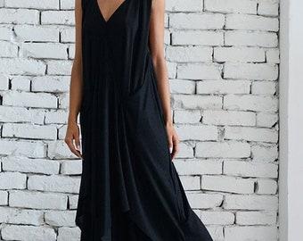 SALE Black Dress / Draped Maxi Black Dress / Extravagant Black Dress / Oversize Loose Dress / Plus Size Maxi Dress / Asymmetric Dress / Long