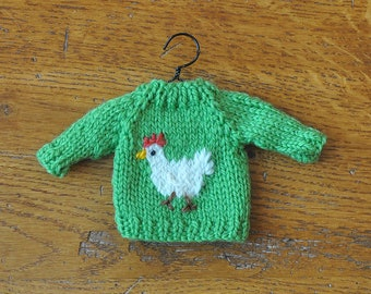 Chicken Hand-Knit Sweater Ornament