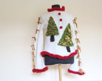 Upcycled sweater, ugly christmas sweater, recycled clothing