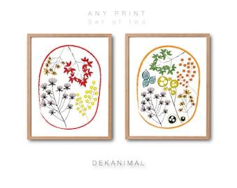 Floral print set, Flower Wall art, Botanical Art print,Living room art, Flower art print, Kids room poster, Scandinavian Home style deocr