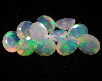 5 pieces 3x5mm Ethiopian Opal oval shape gemstone AAA quality Natural Ethiopian Welo Opal faceted oval loose gemstone , opal oval faceted