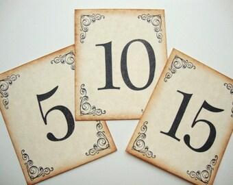 Wedding Table Numbers Vintage Style