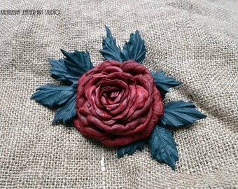 Deep Red Rose leather flower brooch, leather jewelry, leather flower corsage, leather gift, gift for her