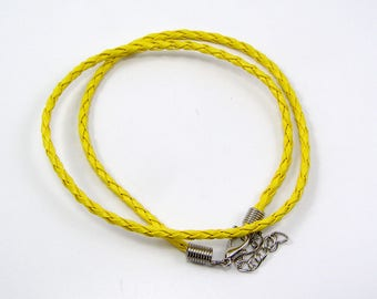 Necklaces leather twisted 430 x 3mm yellow set of 2