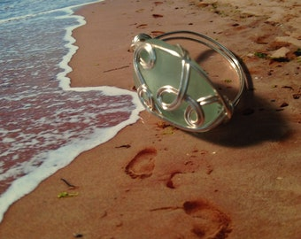 Wire Wrapped Ring (9) Sea Glass Jewellery