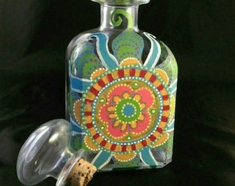Painted Vintage Glass Decanter