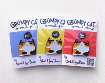 Grumpy Cat Pin // grumpy cat enamel pin // funny cat pin // cat enamel pin