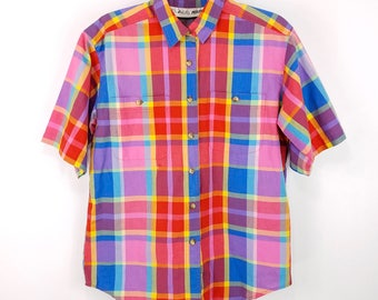 90s Rainbow Plaid Short Sleeve Shirt, Colorful Plaid Button Down, Vintage Madras Plaid Oxford Short Sleeve, Womens Size 8 Medium