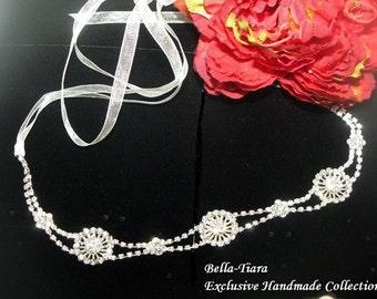 swarovski crystal wedding headband, wedding headwrap, bridal foreband, ribbon wedding headband, crystal bridal hair accessory