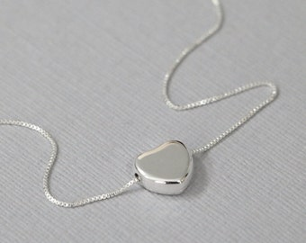Sterling Silver Heart Necklace, Silver Heart Necklace, Valentines Gift, Sterling Silver Necklace Gift for Her Girlfriend Gift, Gift for Wife