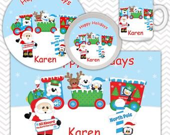Christmas Santa Express Bowl Mug Set - Personalized Santa Plate Set - Customized Plate, Bowl, Mug - Melamine Plate, Bowl & Set for Kids