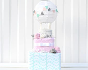 Diaper Cake, Up and Away Shower, Hot Air Balloon Baby Shower Diaper Cake, Up and Away Cake, Baby Shower Decoration, Baby Girl Centerpiece