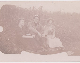 Faded Picnics - Vintage Faded Photo Postcard of Young Folks on a Picnic