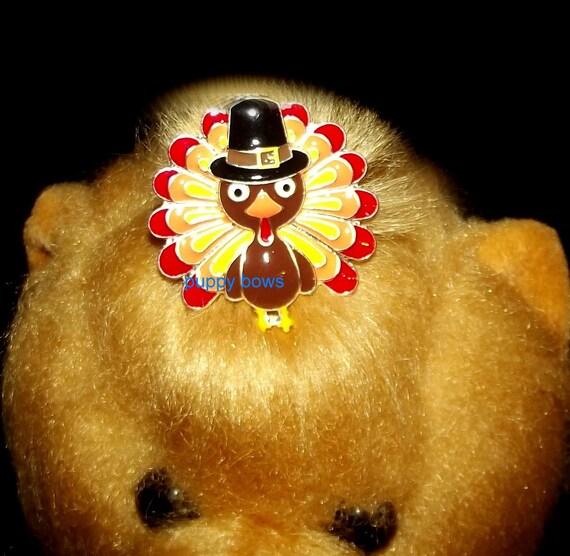 Puppy Bows ~Small  rhinestone TURKEY crystal THANKSGIVING dog bow  pet hair clip barrette