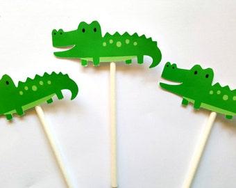 Alligator Cupcake Toppers - Alligator Birthday - Alligator Baby Shower - Jungle Cupcake Toppers