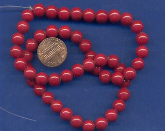 """16"""" Strand of 8mm Mt. Jade Beads: Red"""
