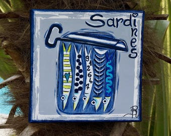 Sardines canvas colorful painting modern painting