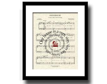 Our House Art Print, Song Lyric Art Print, Music Art, Sheet Music Art, Housewarming gift, Custom gift, Home Decor, Wall art