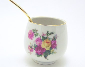 Schumann Jelly Jar - Bavaria Germany U.S. Zone - Sugar Bowl -  With Gold Plated Spoon - 1940