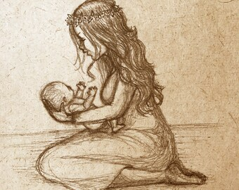 New Life sketch on handmade paper - New mother and newborn baby sketch