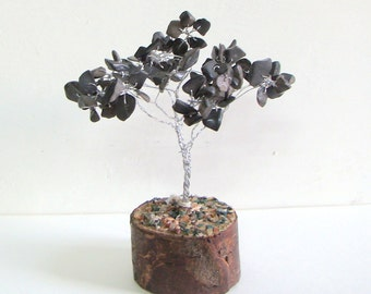 Black Hematite Crystal Chips Feng Shui Tree 100% Genuine from India Chakra Rieki Yoga Healing Crystal Wire Tree Spiritual Om Home Decor