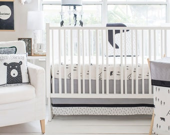 Little Black Bear 3 Piece Baby Crib Bedding Set, Baby Bedding, Nursery