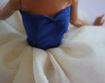 11,5 inch doll clothes blue and cream colored dress