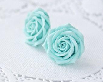 Light blue flower earrings, blue rose earrings, blue rose stud earrings, blue earrings, wedding earrings, womens earrings, earring studs