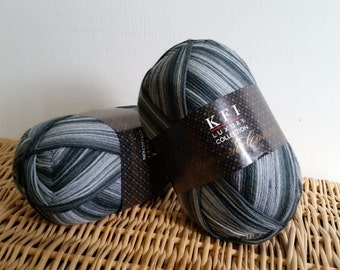 Sock Yarn, Cashmere, Luxury Sock, Self Striping, KFI Indulgence, Wool Blend Sock Yarn, 06 Steel