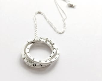 Personalized Mother Necklace 3 Large Rings with Hand stamped Children's Names - Sterling Silver, Mother's Gifts, Russian Ring Necklace