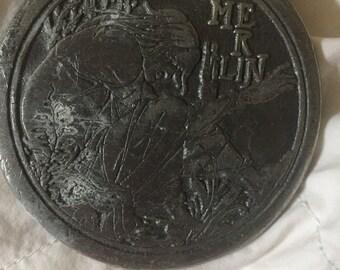 Vintage Beardsley Merlin metal art piece, belt buckle; Arthurian art, King Arthur's court wizard Merlin