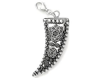 Sterling Silver Pendant - Charm Floral Horn