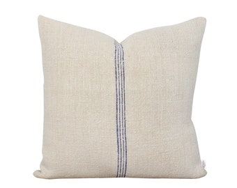 Antique Grain Sack Pillow Cover - Blue Stripes - Handwoven Hemp - Cottage Style Pillow