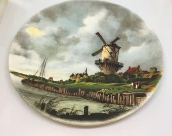 Vintage Poole Pottery Collectors Plate Windmill Scene
