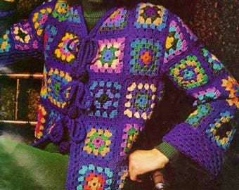 Granny Square Cardigan With Bobble Ties, Crochet Pattern. PDF Instant Download.