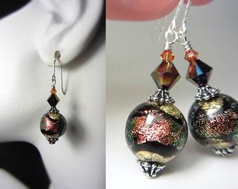 Authentic Murano Glass Earrings Gold and Black Earrings Coral Shimmers Earrings 925 Sterling 24kkt Gold Foil Genuine Venetian Glass Earrings