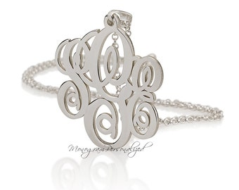 Sterling silver Initial Monogram necklace - 1.5 inch Personalized Monogram - 925 Sterling Silver